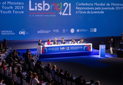 vista do painel e público na Conferência Mundial de Ministros responsáveis pela Juventude.
