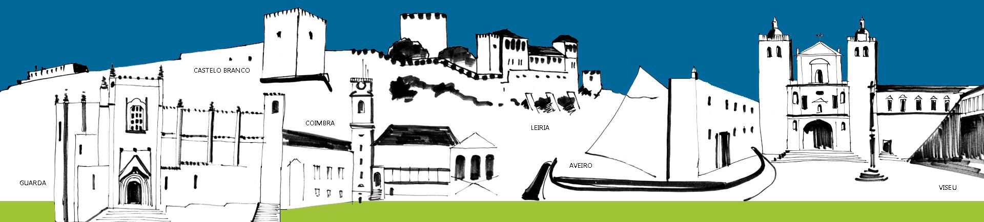 ilustração de construções históricas das cidades da Direção Regional do Centro: Guarda, Castelo Branco, Coimbra, Leiria, Aveiro, Viseu