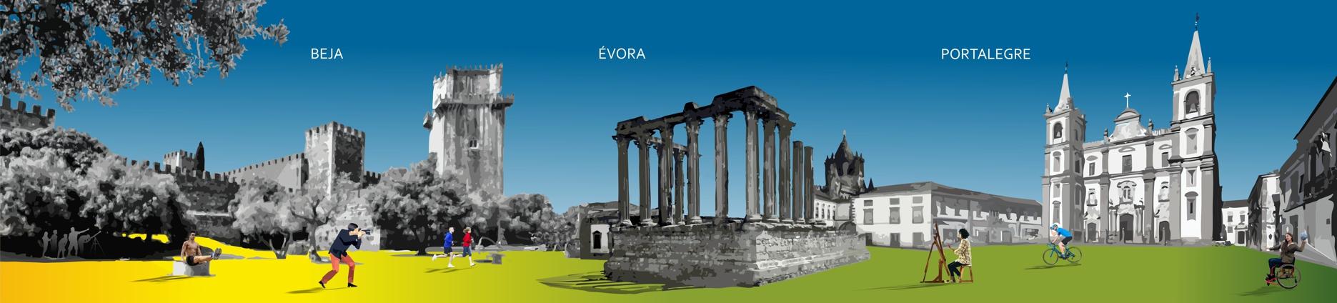 Imgaem gráfica com representação dos pontos históricos de Beja, Portalegre e Évora