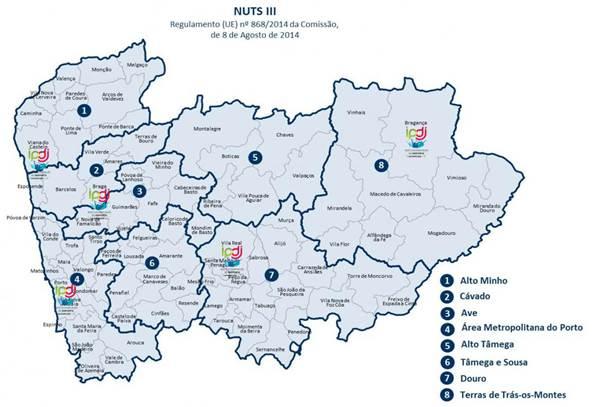 Mapa geográfico dos serviços desconcentrados do IPDJ da região norte