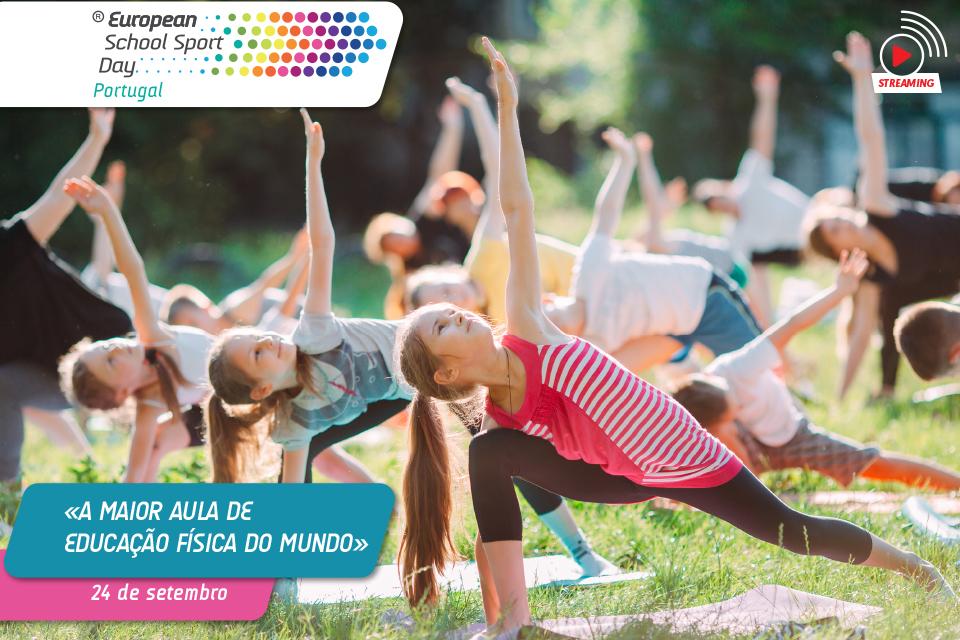 Imagem com crianças a praticar atividade física