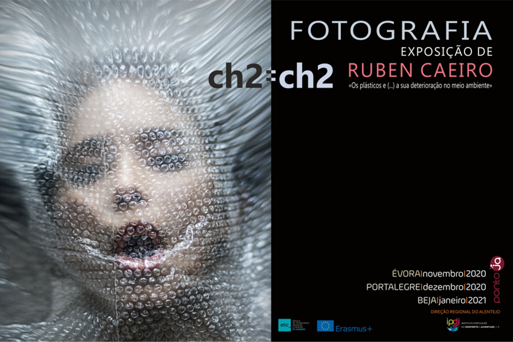 Foto de cartaz com rosto coberto com película plástica