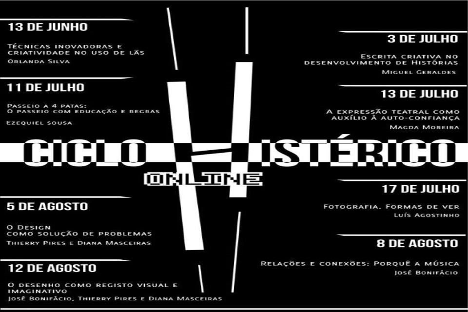 cartaz a negro com informação dos cursos