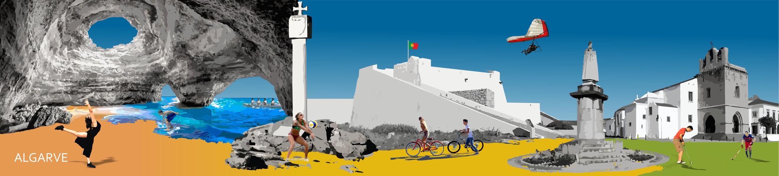 Ilustração de locais característicos da região do Algarve com jovens em atividade nesses diferentes locais: a dançar, a andar de bicicleta, a jogar voleibol, golfe, bodyboard..