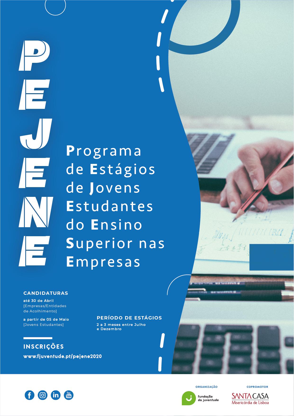 Cartaz Pejene 2020  fundo azul com informação de prazos a branco