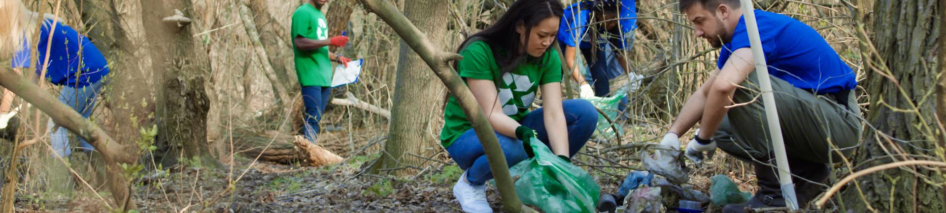 Jovens recolhem lixo numa área florestal