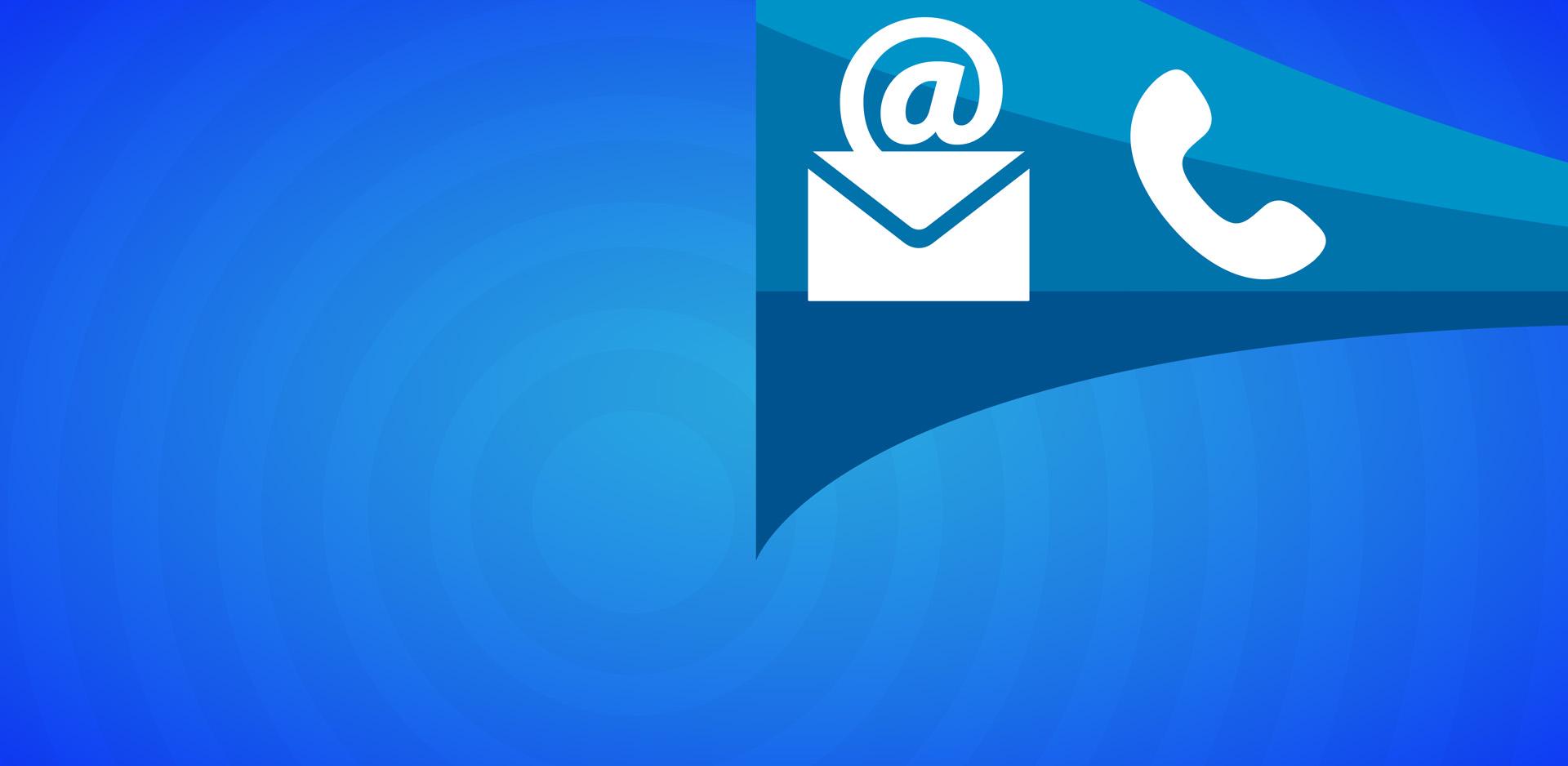 imagem grafica em azul com os icons de um telefone e um e-mail