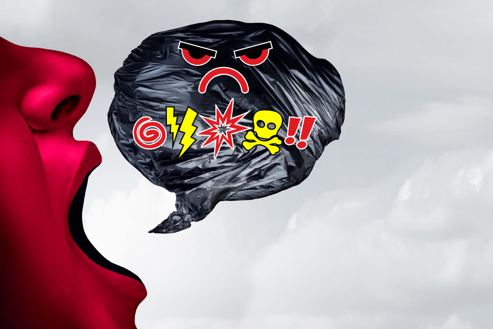Logotipo da iniciativa: perfil vermelho de rosto com boca aberta com uma boullet preta com símbolos de ira/raiva