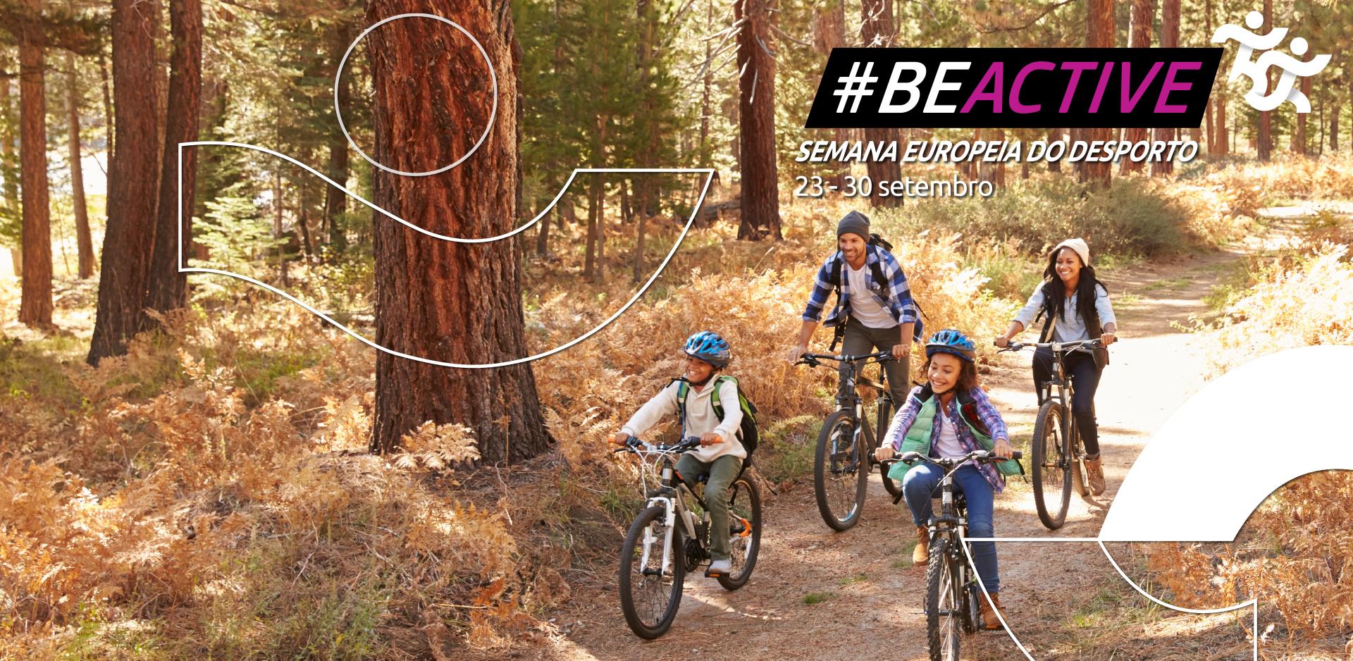 Conjunto de 4 pessoas (2 adultos e 2 jovens) a andar de bicicleta na natureza.