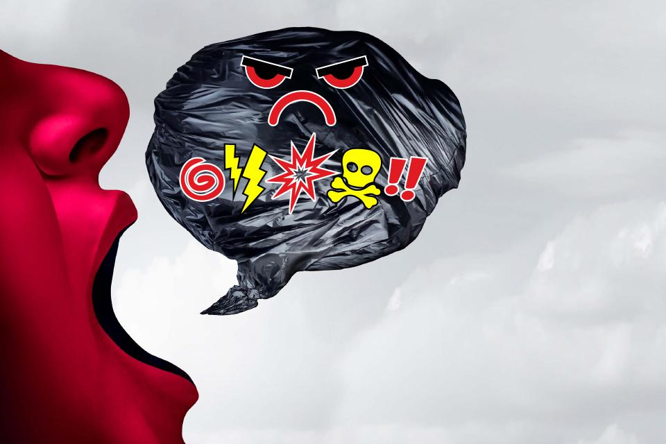 Logotipo da formação. perfil de boca aberta em fundo vermelho com uma boulet com símbolos de ruídos.